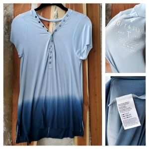 AEO Soft & Sexy Blue Watercolor T